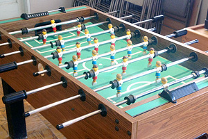 Foosball table at Hauli Huvila